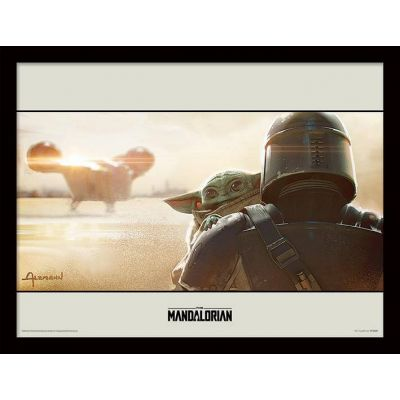 Star wars The Mandalorian Cadre collector Baby and Bounty 30x40cm