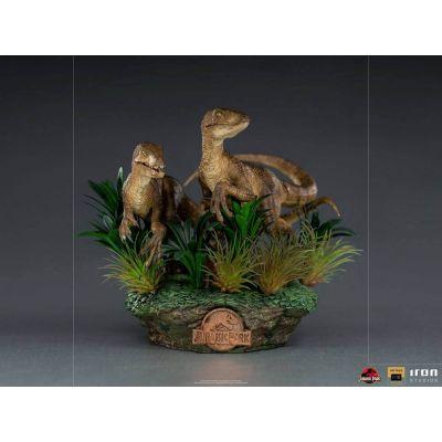 """""""Réservation Acompte"""" Jurassic Park Statuette 1/10 Deluxe Art Scale Just The Two Raptors 20 cm"""