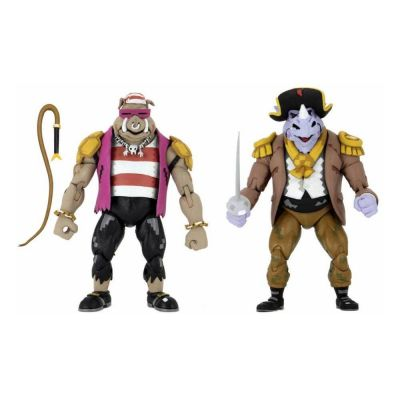 Les Tortues ninja : Turtles in Time pack 2 figurines Pirate Rocksteady & Bebop 18 cm